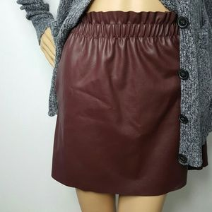 Zara Oxblood Faux leather skirt